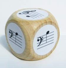 Notenwürfel a bis e, Bass- und Violinschlüssel, für Klavier