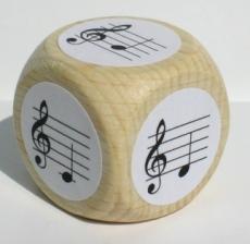 Notenwürfel c bis g, Violinschlüssel, für Klavier