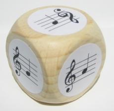 Notenwürfel f bis c, Violinschlüssel, für Klavier