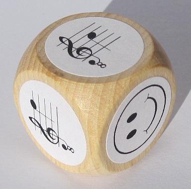 notenwürfel c' bis g' mit oktavierenden notenschlüssel, für gitarre