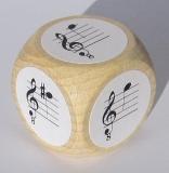 Notenwürfel d bis a mit fis im oktavierenden Notenschlüssel, für Gitarre