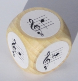 Notenwürfel f bis c, mit b, mit oktavierenden Notenschlüssel, für Gitarre