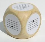 Würfel mit Noten ohne Hals, Tonbereich d bis g