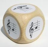 Notenwürfel g bis e mit oktavierenden Notenschlüssel, für Gitarre