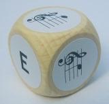 Notenwürfel e bis h, Violinschlüssel, für Geige